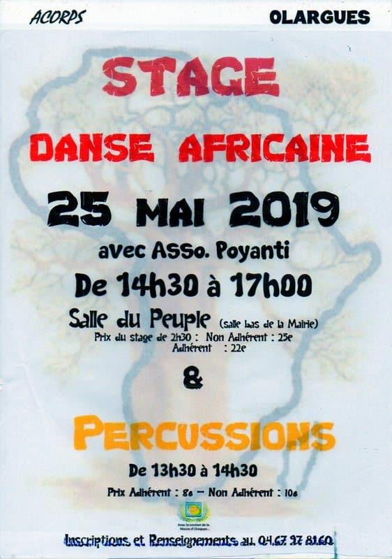 Stage de danse africaine du 25 mai 2019