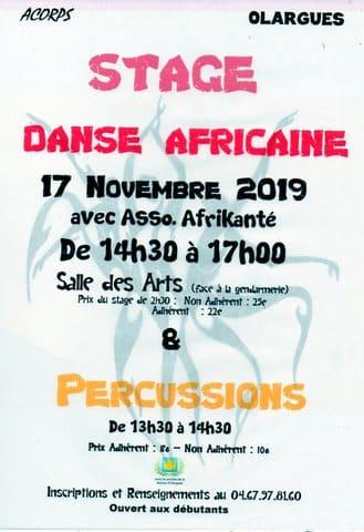 Stage de danse africaine du dimanche 17 novembre 2019