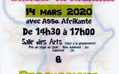 Stage de danse africaine du 14 Mars 2020